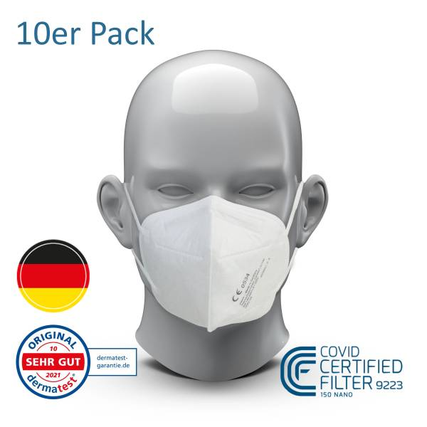CareAir - Atemschutzmaske FFP2 - 10 Pack - EN 149:2001+A1:2009 - Made in Germany